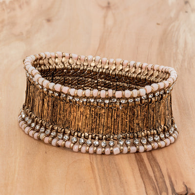 Gold Wide Band Bracelet - Blush, AC-Abbott Collection, Putti Fine Furnishings