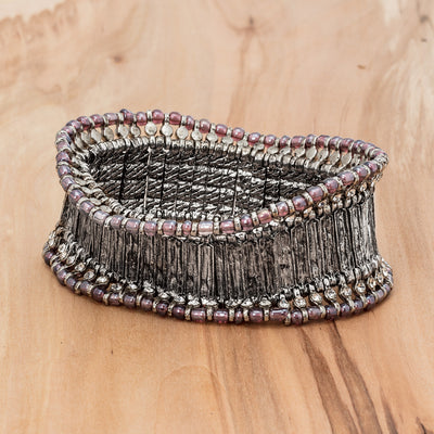 Silver Wide Band Bracelet - Mauve, AC-Abbott Collection, Putti Fine Furnishings