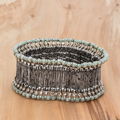 Silver Wide Band Bracelet - Aqua, AC-Abbott Collection, Putti Fine Furnishings