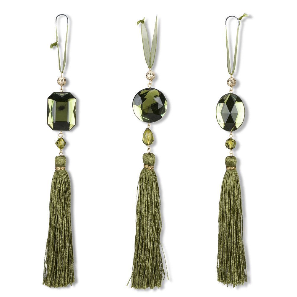Crystal Gem Tassel Ornament - Green -  Christmas Decorations - AC-Abbot Collection - Putti Fine Furnishings Toronto Canada