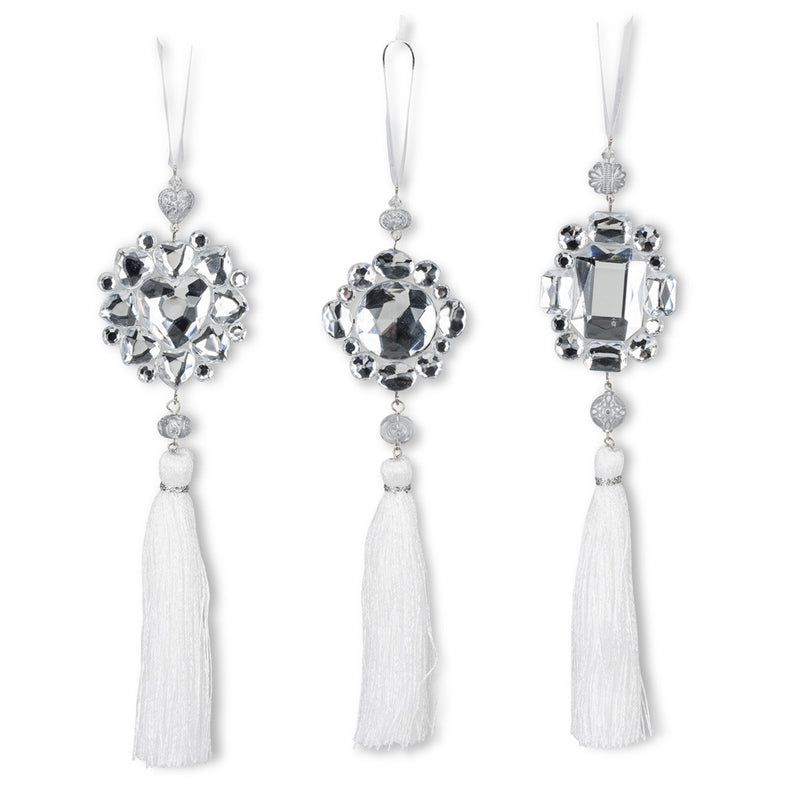 Crystal Gem Tassel Ornament -White -  Christmas Decorations - Abbot Collection - Putti Fine Furnishings Toronto Canada