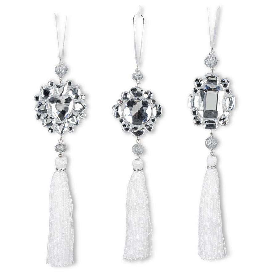 Crystal Gem Tassel Ornament -White