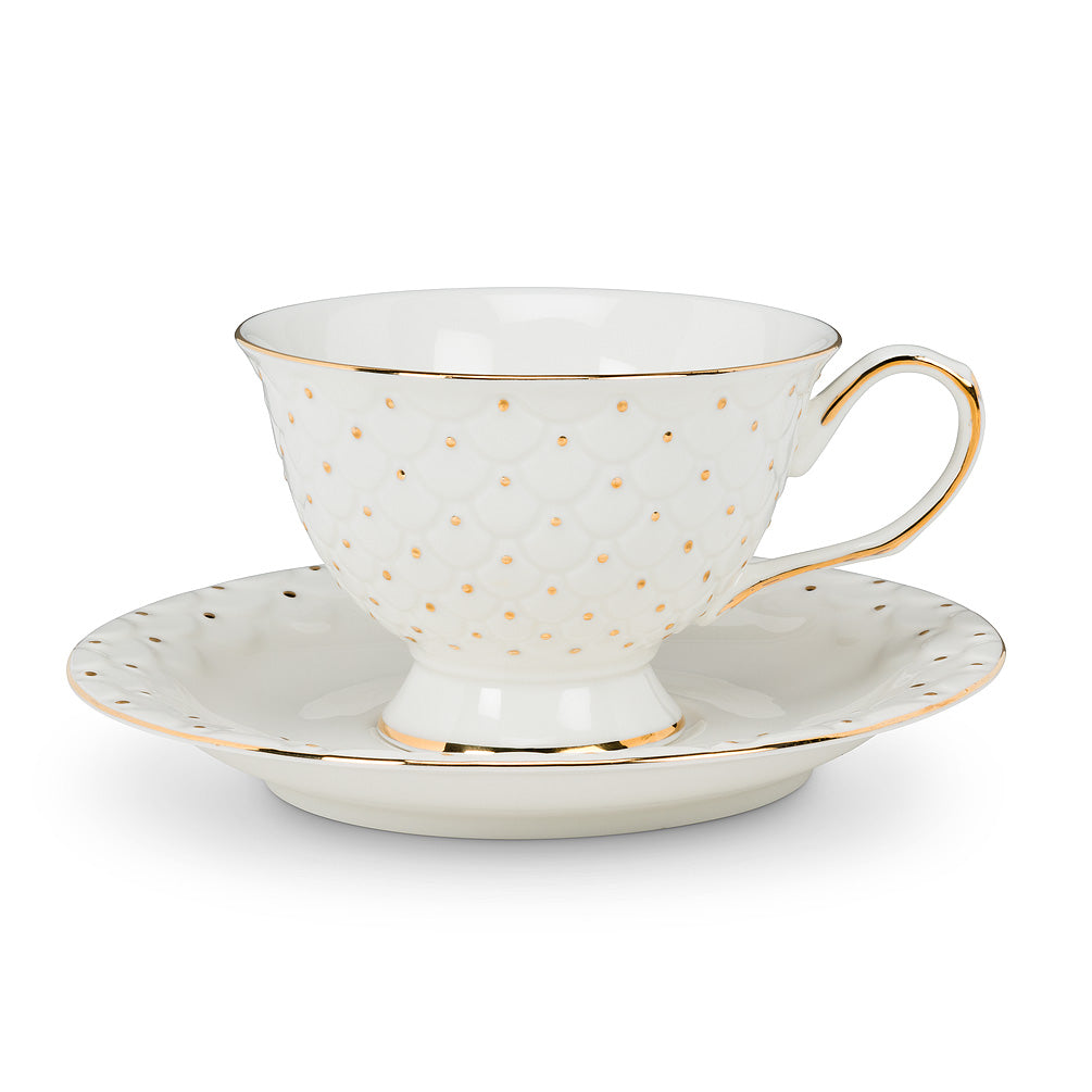 Tea Cup & Saucer with Dot and Scallop