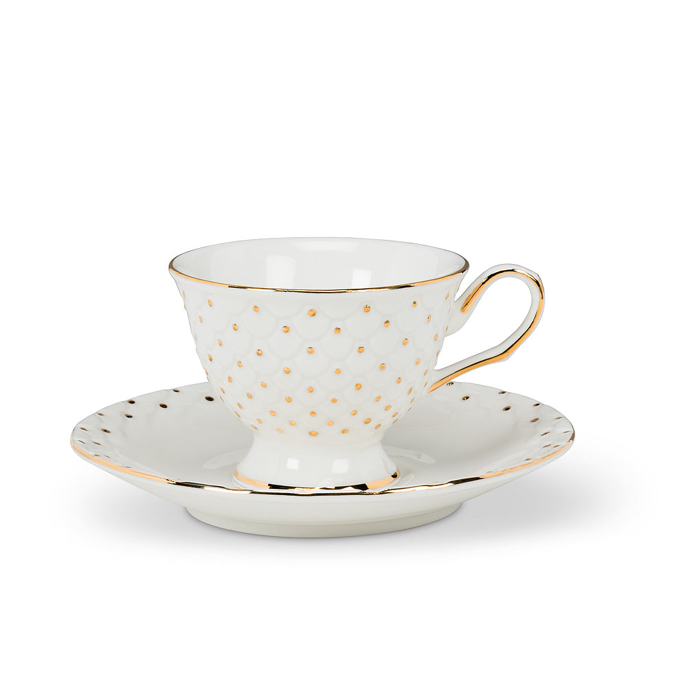 Espresso Cup and Saucer with Gold Handle - Putti Fine Furnishings
