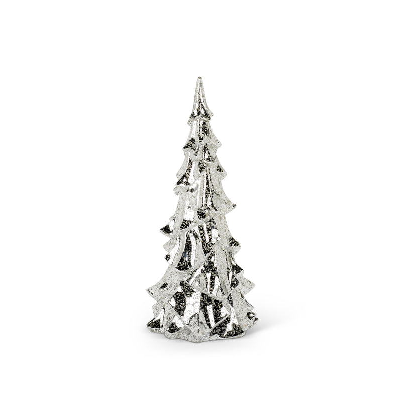 Antiqued Glass Christmas Tree with Lights - Silver