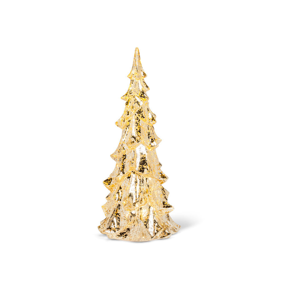 Antiqued Glass Christmas Tree with Lights - Gold
