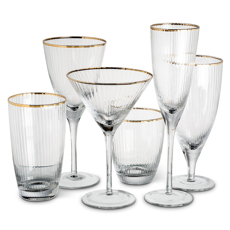 Optic Glass Flute with Gold Rim -  Glassware - Abbot Collection - Putti Fine Furnishings Toronto Canada - 1