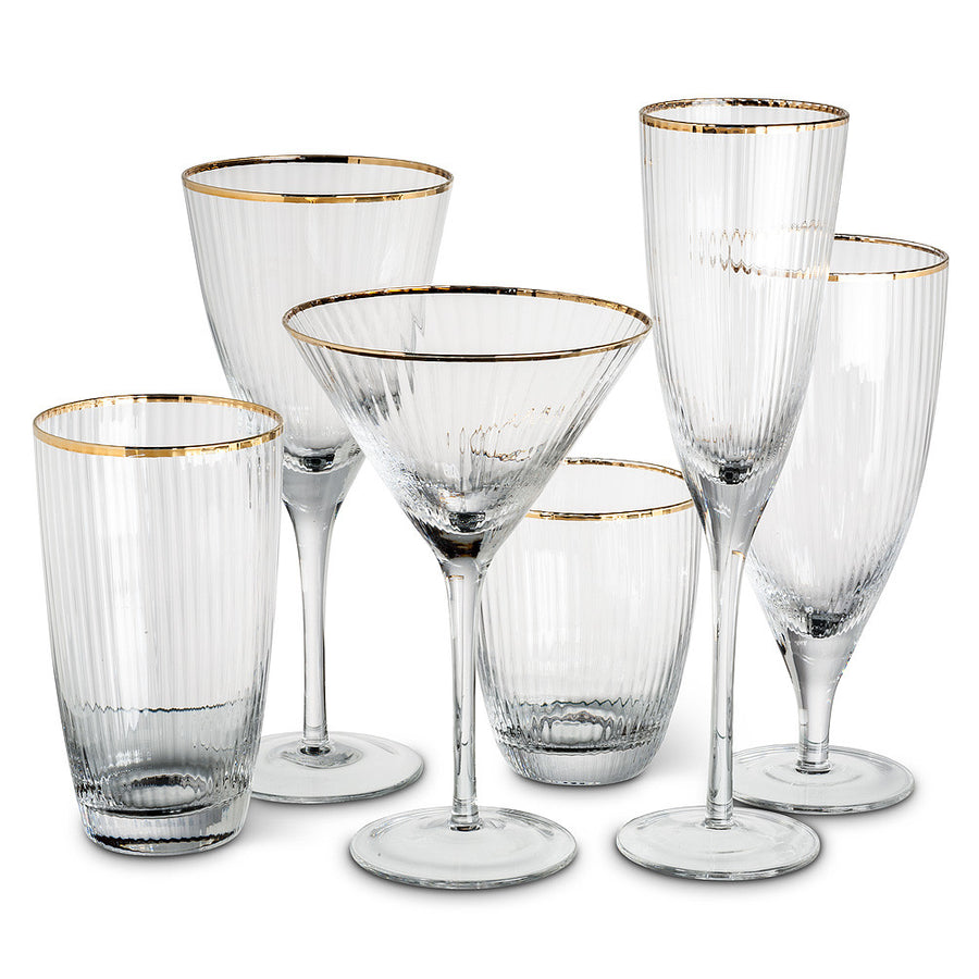 Optic Glass Goblet with Gold Rim