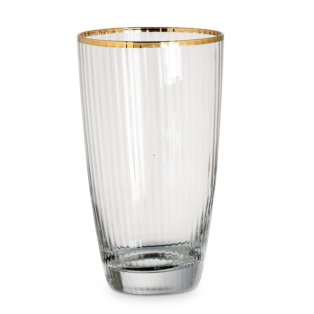Optic Glass Highball with Gold Rim -  Glassware - AC-Abbot Collection - Putti Fine Furnishings Toronto Canada - 1