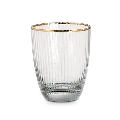 Optic Glass Tumbler with Gold Rim -  Glassware - AC-Abbot Collection - Putti Fine Furnishings Toronto Canada - 1