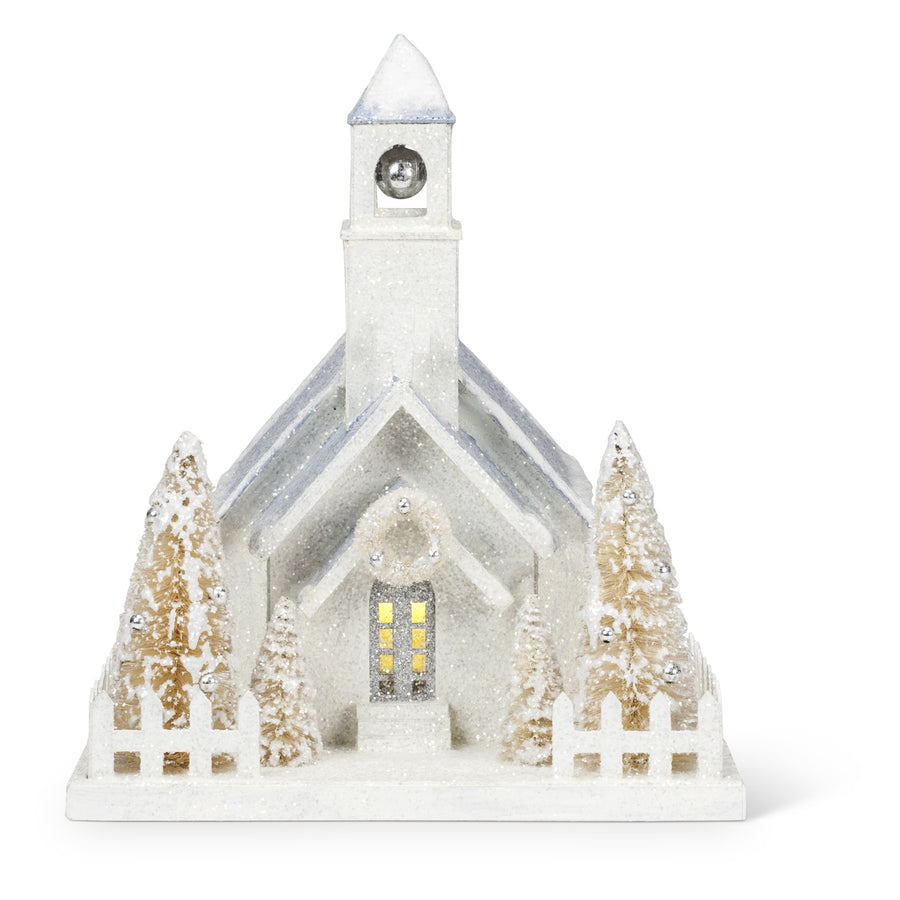 Christmas Village Church with LED Light - Large