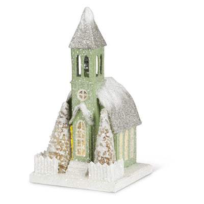 Christmas Village Church with LED Light - Small, AC-Abbott Collection, Putti Fine Furnishings