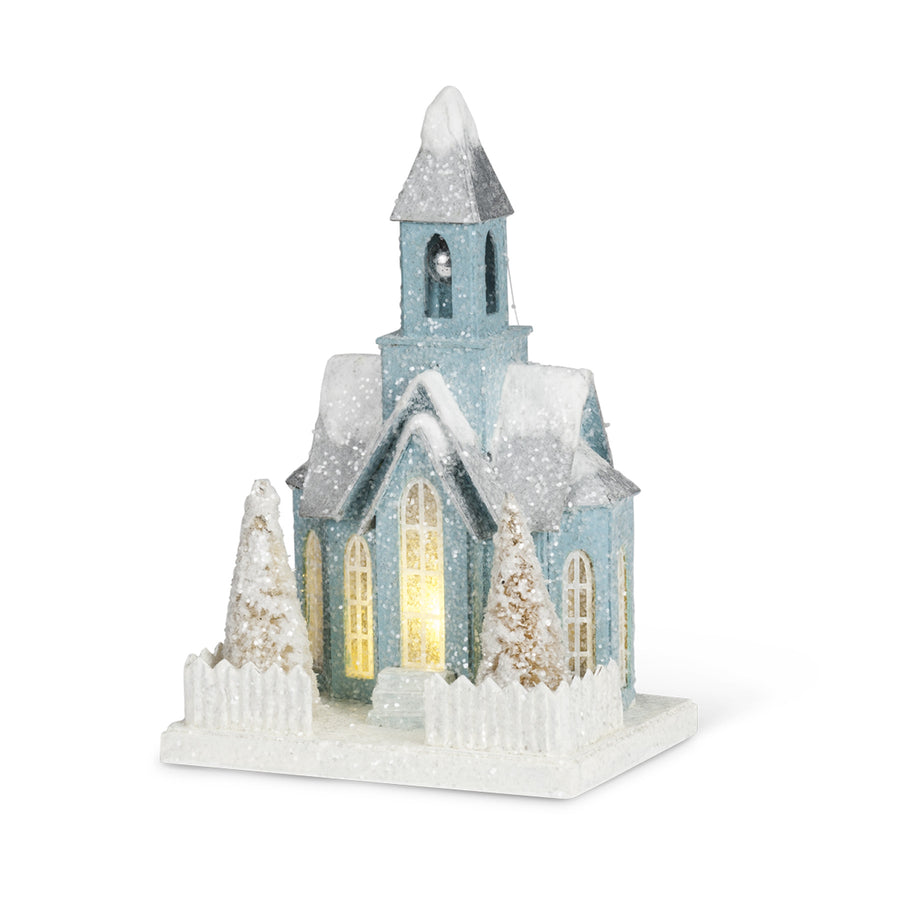 Christmas Village Church with LED Light - Medium