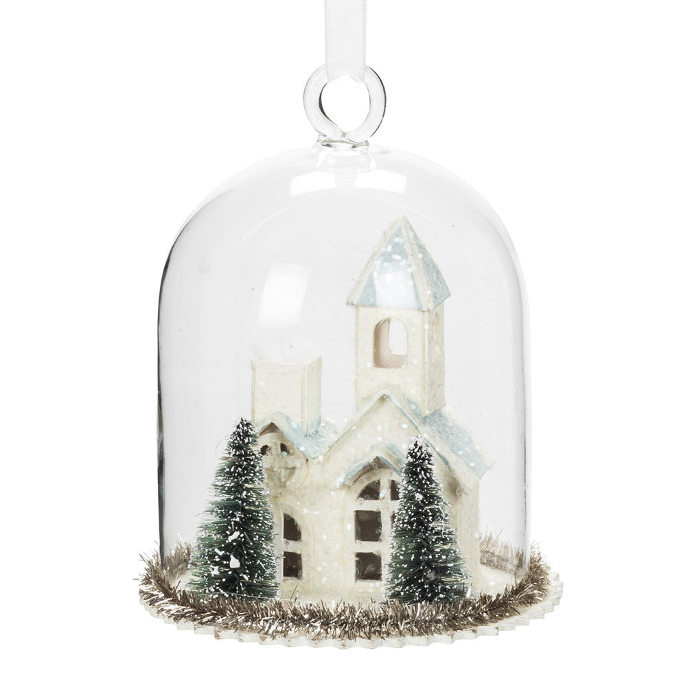 Small Dome with Ivory Church -  Christmas Decorations - AC-Abbot Collection - Putti Fine Furnishings Toronto Canada
