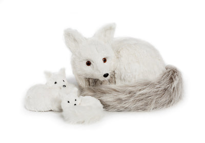 Curled up Fox with Fur Tail - Large -  Christmas - AC-Abbott Collection - Putti Fine Furnishings Toronto Canada - 2