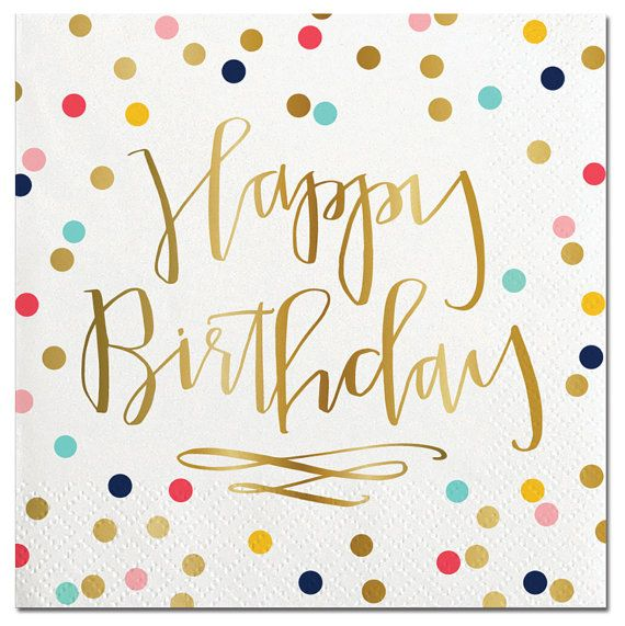 """Happy Birthday"" Polka Dot Paper Napkins - Beverage"