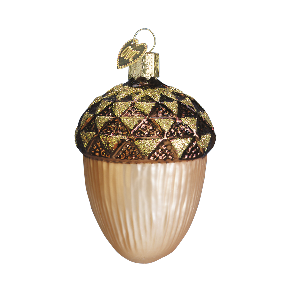 Old Word Christmas Large Acorn Glass Ornament