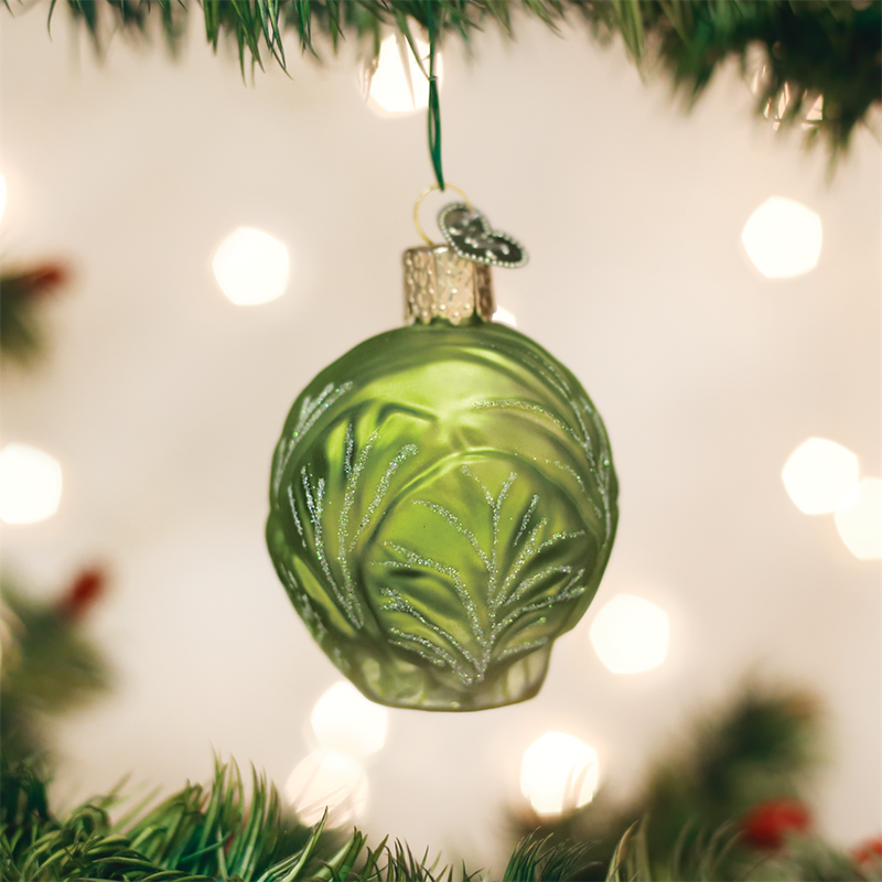 Old World Christmas Brussel Sprout Glass Christmas Ornament, OWC-Old World Christmas, Putti Fine Furnishings