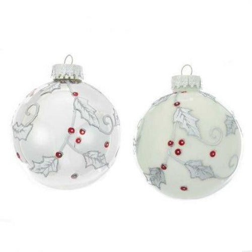 Kurt Adler Silver & White With Red Holly Glass Ball Ornaments - 6 Piece Box Set