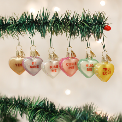 Old World Conversation Hearts Glass Ornament -  Christmas Decorations - Old World Christmas - Putti Fine Furnishings Toronto Canada - 2