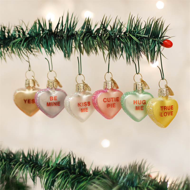 Old World Conversation Hearts Glass Ornament -  Christmas Decorations - Old World Christmas - Putti Fine Furnishings Toronto Canada - 1