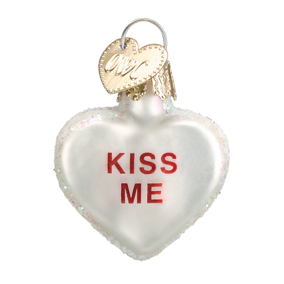 Old World Conversation Hearts Glass Ornament - Kiss Me Christmas Decorations - Old World Christmas - Putti Fine Furnishings Toronto Canada - 7