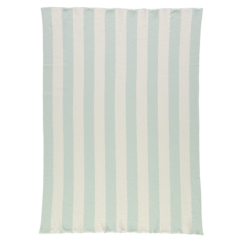 Meri Meri Mint & Ivory Stripe Knitted Blanket-baby-MM-Meri Meri UK-Putti Fine Furnishings