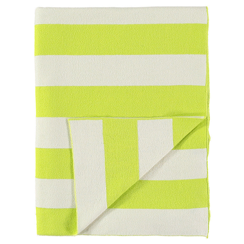 Meri Meri Neon Yellow & Ivory Stripe Knitted Blanket, MM-Meri Meri UK, Putti Fine Furnishings