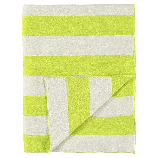 Meri Meri Neon Yellow & Ivory Stripe Knitted Blanket-baby-MM-Meri Meri UK-Putti Fine Furnishings