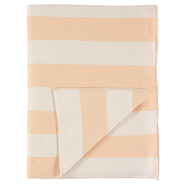 Meri Meri Peach & Ivory Stripe Knitted Blanket-baby-MM-Meri Meri UK-Putti Fine Furnishings