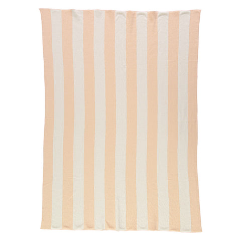 Meri Meri Peach & Ivory Stripe Knitted Blanket