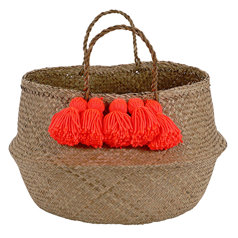 Meri Meri Neon Coral Tassel Basket, MM-Meri Meri UK, Putti Fine Furnishings