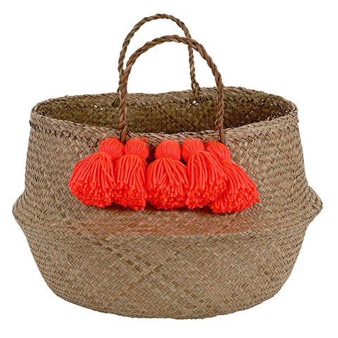 Meri Meri Neon Coral Tassel Basket-Personal Accessories-MM-Meri Meri UK-Putti Fine Furnishings