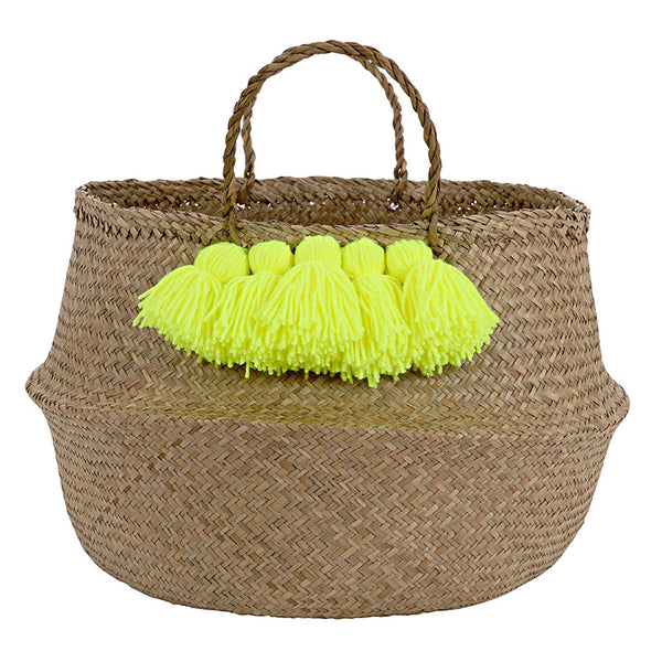 Meri Meri Neon Yellow Tassel Basket-Storage-MM-Meri Meri UK-Putti Fine Furnishings