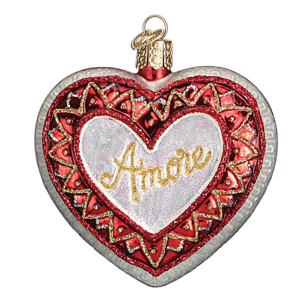 Old World Christmas Amore Heart Glass Ornament