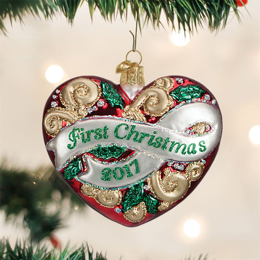 "Old World Christmas ""First Christmas"" Heart Glass Ornament"