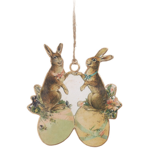 Vintage Style Rabbits on Eggs Ornament | Putti Fine Furnishings