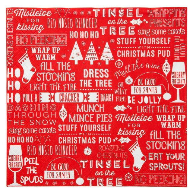 "Red & White Christmas ""Ho Ho Ho"" Dinner Napkin -  Party Supplies - Talking Tables - Putti Fine Furnishings Toronto Canada - 1"