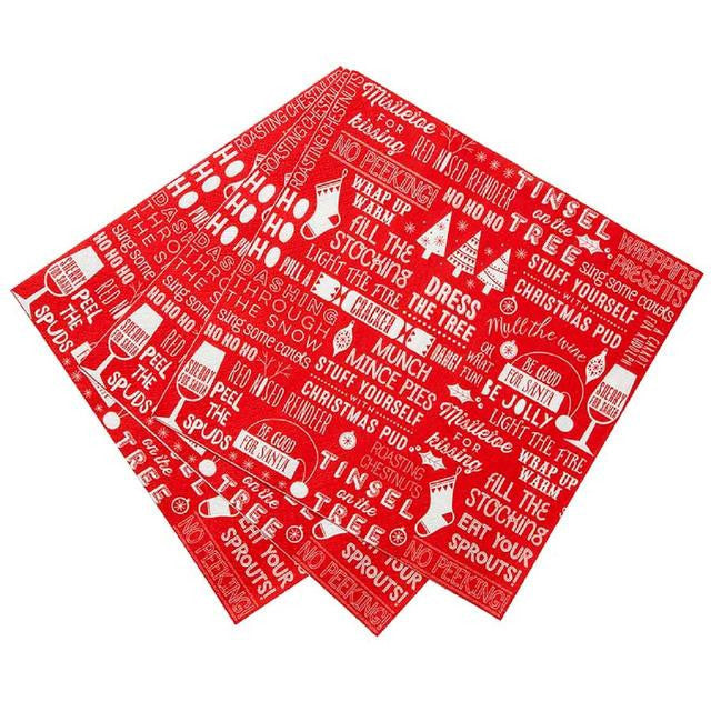 "Red & White Christmas ""Ho Ho Ho"" Dinner Napkin -  Party Supplies - Talking Tables - Putti Fine Furnishings Toronto Canada - 2"