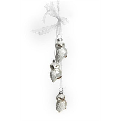 Hanging White Owls Glass Ornaments