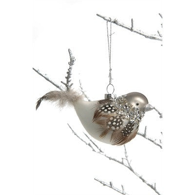 Glass Bird with Crystals and Feathers Ornaments