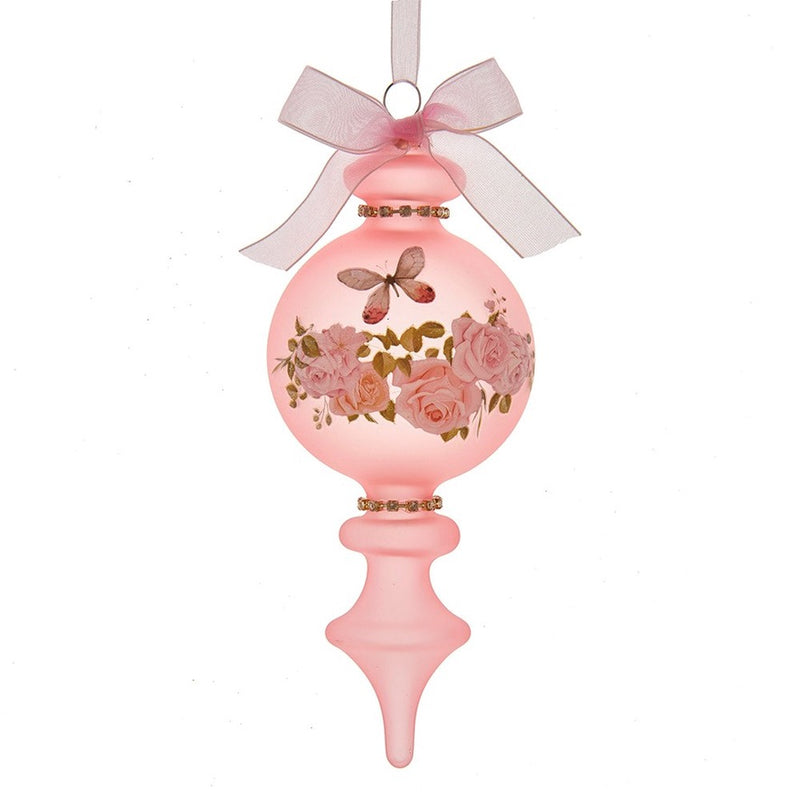 Kurt Adler Blush Boho Chic Pink Glass Finial Ornament | Putti Christmas