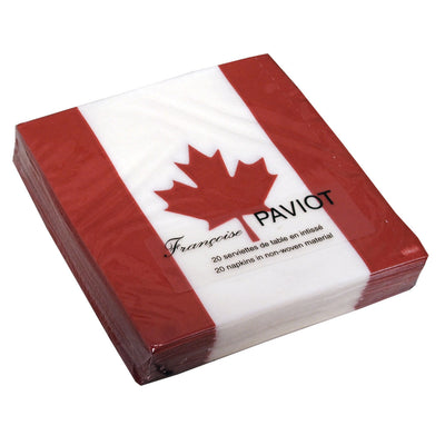 "Francoise Paviot ""Canadian Flag"" Cocktail Napkin"