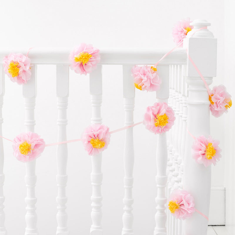 Decadent Garden Flower Pom Pom Garland Talking Tabes