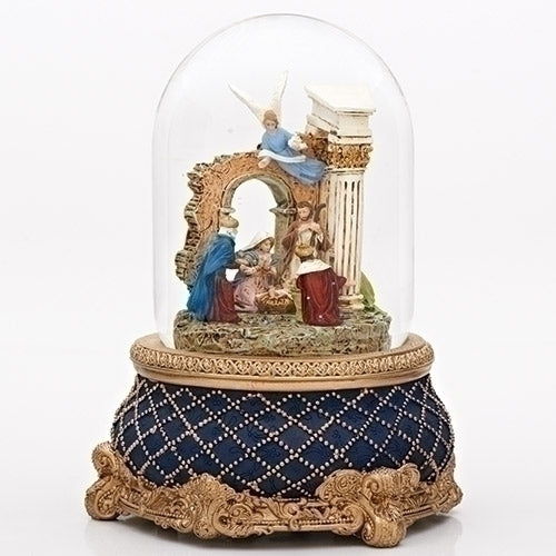 Roman Nativity with Stone Wall Revolving Snow Globe | Putti Christmas