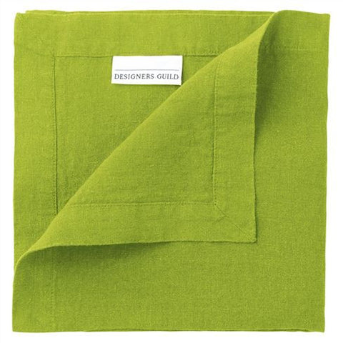 "Lario Borghese Lime - 100% Linen Placemats & Napkins-Table Linens-DG-Designers Guild-Napkin - 18"" x 18 ""-Putti Fine Furnishings"