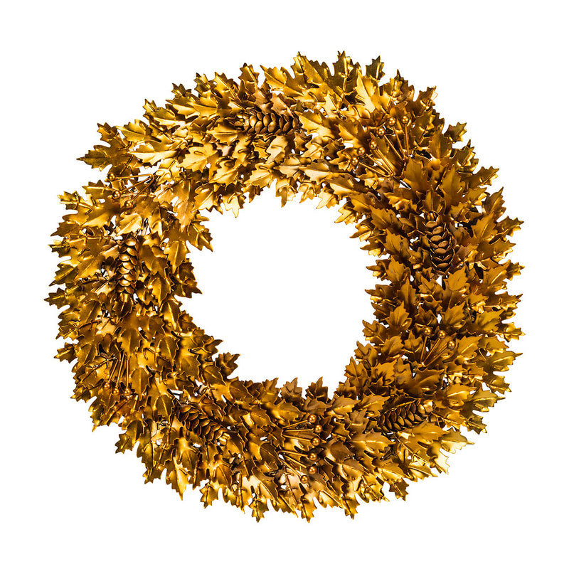 Gold Metal Leaf and Pinecone Wreath - Small