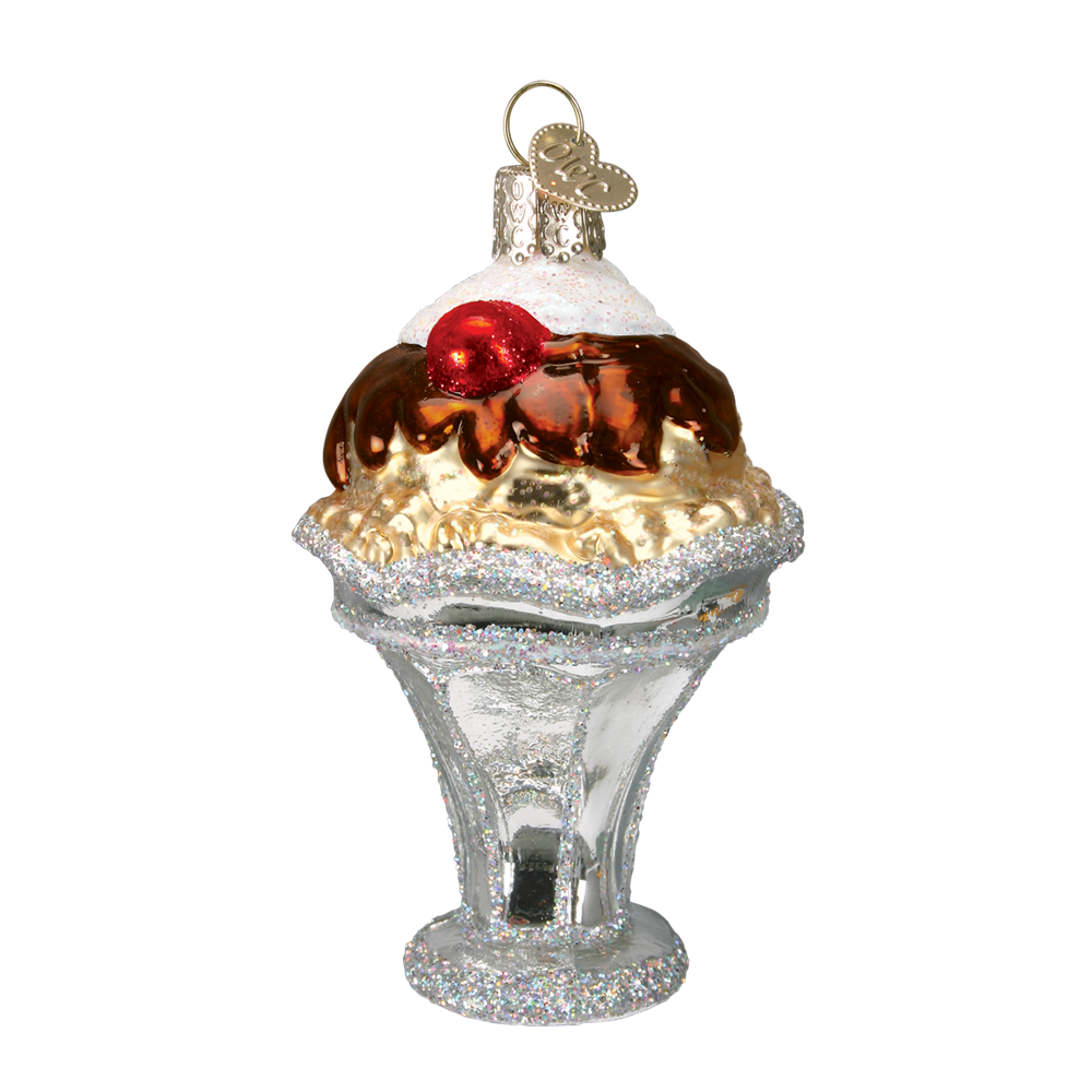 Old World Christmas Ice Cream Sundae Glass Ornament -  Christmas Decorations - Old World Christmas - Putti Fine Furnishings Toronto Canada - 1