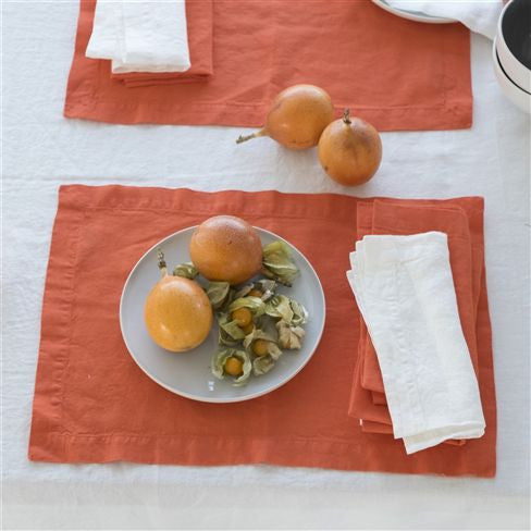 "Lario Tangerine - 100% Linen Placemats & Napkins-Table Linens-DG-Designers Guild-Napkin - 18"" x 18 ""-Putti Fine Furnishings"