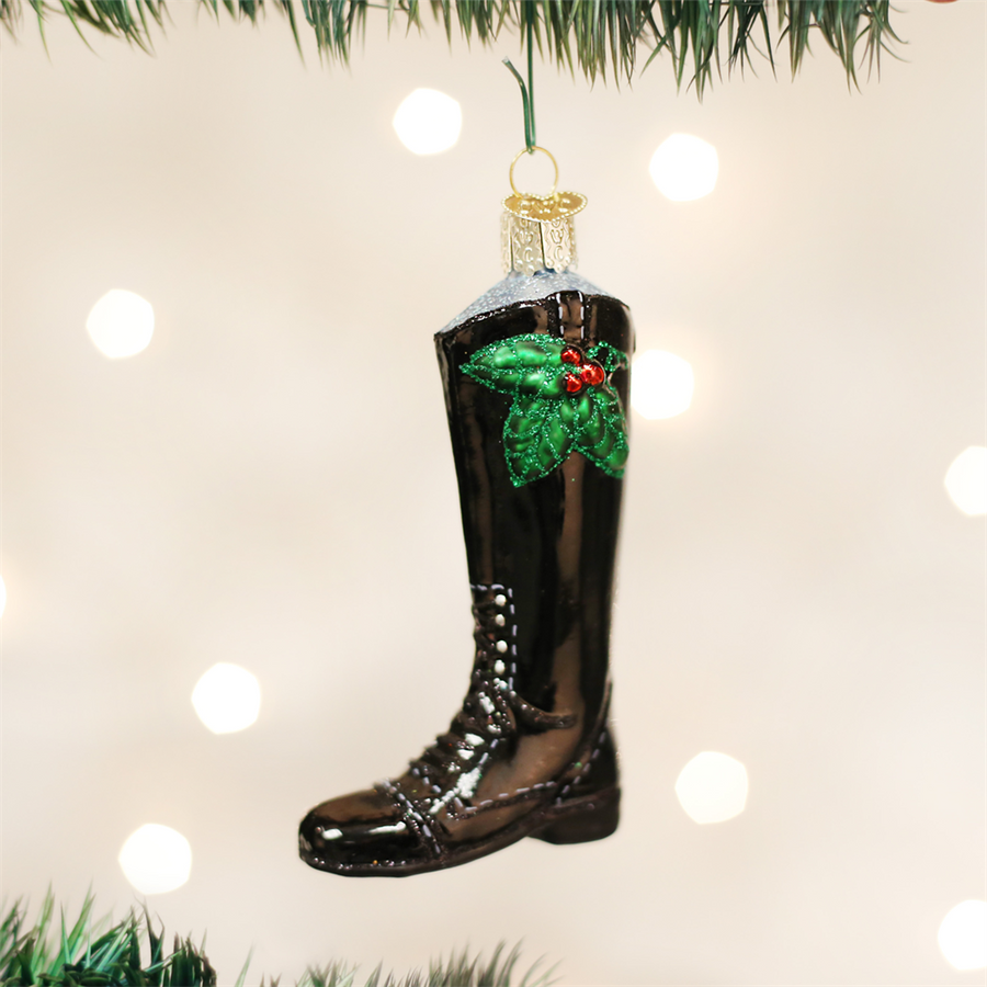 Old Word Christmas English Riding Boot Glass Ornament, OWC-Old World Christmas, Putti Fine Furnishings